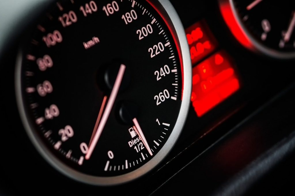 Image of car speedometer represents website speed.
